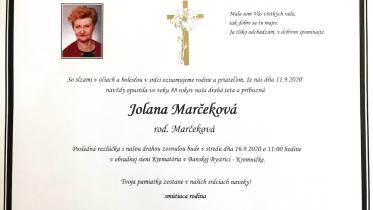 Navždy nás opustila Jolana Marčeková